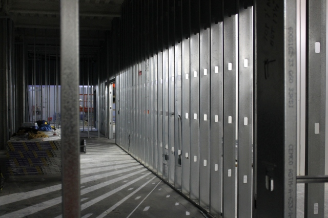A framed storage area in the basement of Aztec Student Union.
