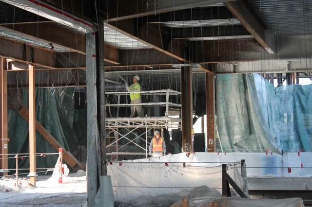 Fireproofing continues in Aztec Student Union.