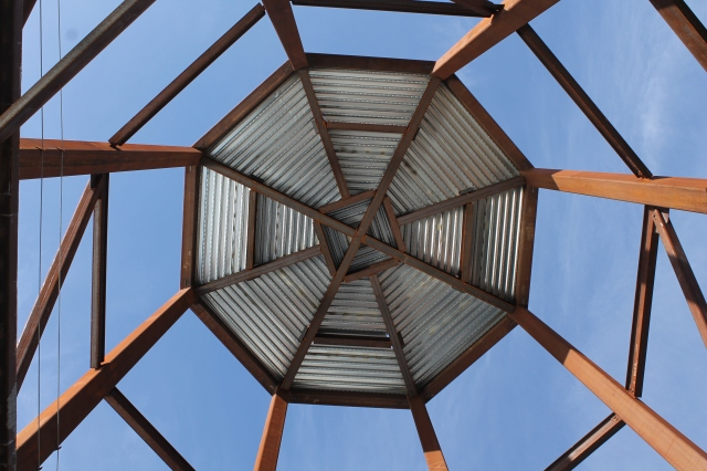 The underside of the tower that serves as a prominent architectural feature in Aztec Student Union.
