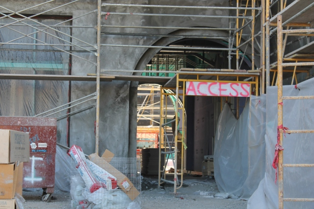 The entrance to the cafe area in Aztec Student Union is coming together.