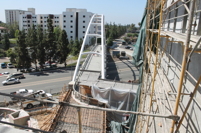 A bird's eye view of the pedestrian bridge and its eventual ramp into the Union.
