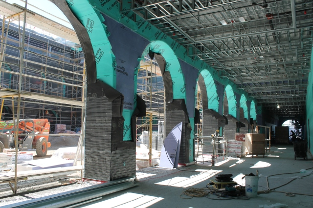 A view of the archways located near the Goldberg Courtyard.