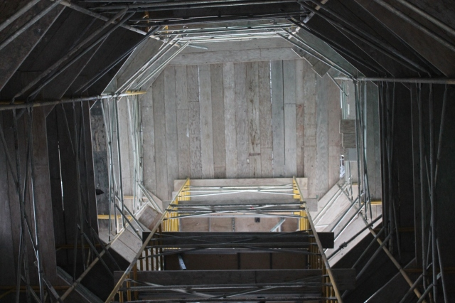 "The underside of the tower in Aztec Student Union shows what engineers call a ""dance floor,"" a surface so sturdy, a crew member could dance on it."
