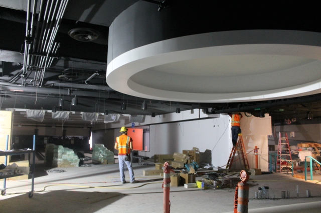 The Aztec Lanes service counter is under construction.