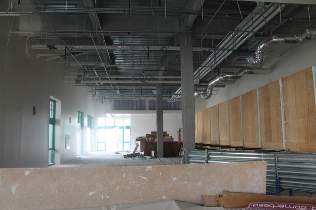 The cafe dining area in the Union will have open seating to serve Chipotle and The Habit customers, among others.