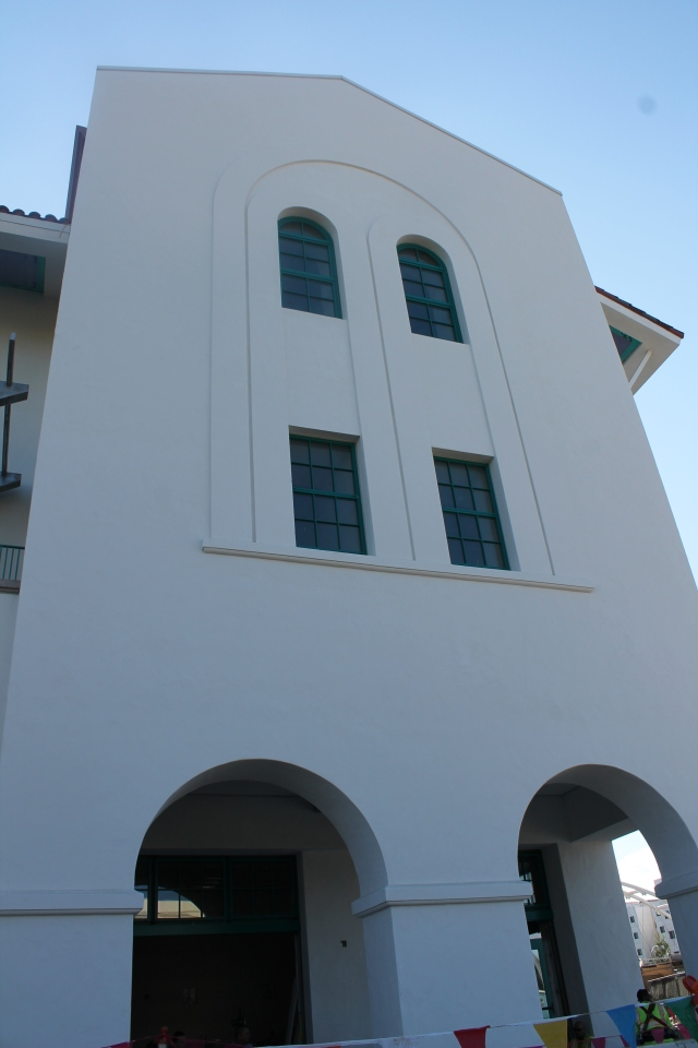 There are several arches on the building's westerly facade.