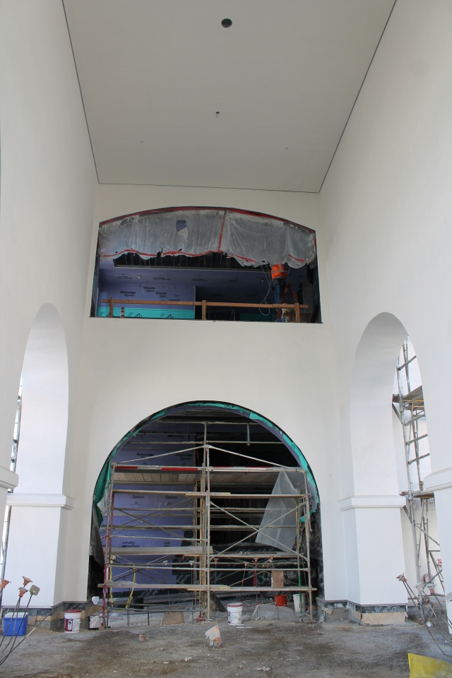 A view of an archway on the first floor near Aztec Lanes.