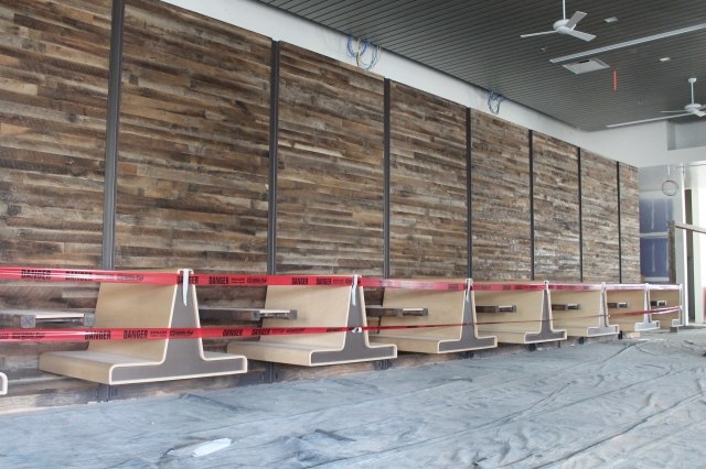 Bench seating was installed in the cafe dining space on the first floor.