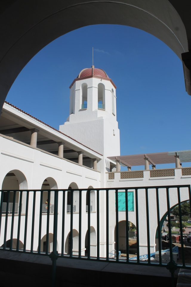 A view of the tower from a second-floor arcade (AKA outdoor walkway).