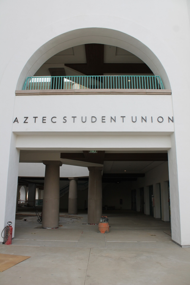 Signage has been installed above the entrance into the Union from the pedestrian bridge.