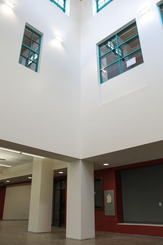 A view of the student organization offices near the entrances to Commuter Resources and the Center for Leadership and Service.