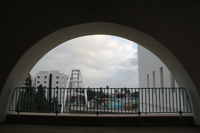 A view of the pedestrian bridge from the second floor of the Union.