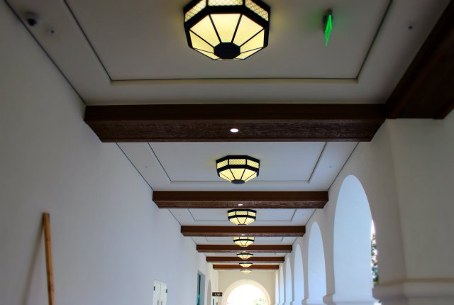 Lighting in the Arcades - architectural term for outdoor hallway.