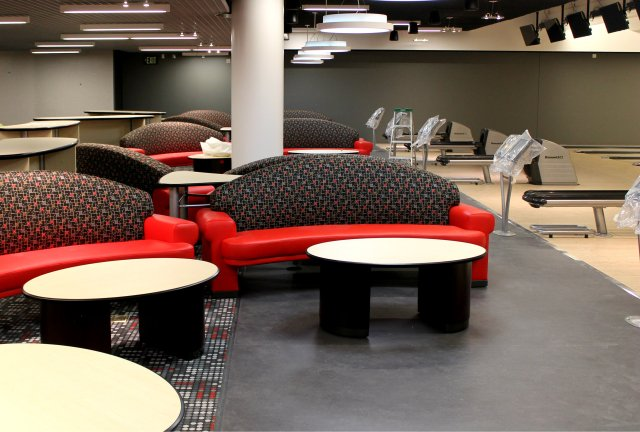 Bowl, Strike, Rest, Repeat. Aztec Lanes couches ready for bowling rest breaks.